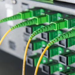 24206206 - server with fiber optic cables in data center